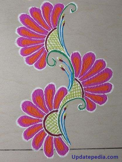 Simple and easy flower rangoli designs for home homemade for Home made rangoli designs